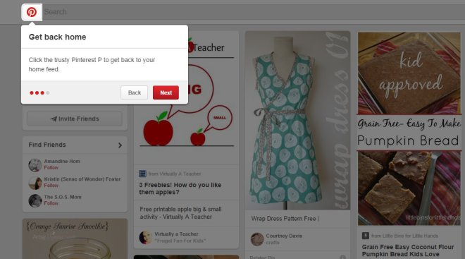 Click on the P to find your Home Feed  on Pinterest