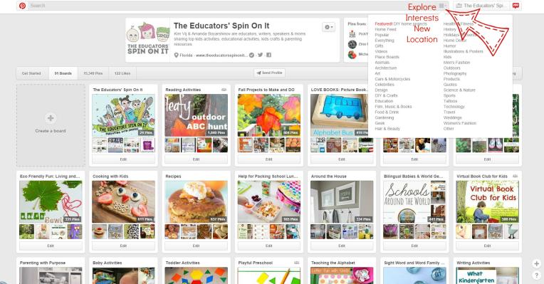 Explore Interest option on Pinterest new location