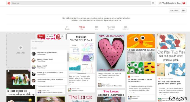 Tips for Sending Messages on Pinterest by KimVij.com